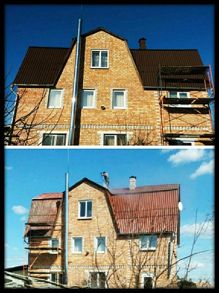 Покраска крыши старого дома