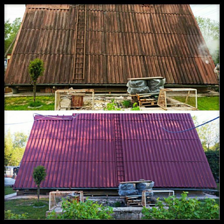 Окрашенная шиферная крыша