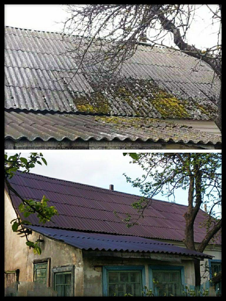 Очистка и покраска шиферной крыши в минской области